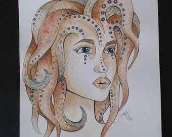 Octopus Mermaid Watercolour Painting, Art, Original Painting