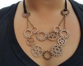 Metal gears with leather necklace