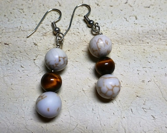 Magnesite ( known as whte turquoise) and tiger eye shepards hook earrings