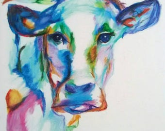 Cow Print, Cow Drawing, Print of Cow Drawing, Cow Illustration, Farm Animal Art, Nursery Art