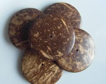 Set of 5 large Brown coconut slices