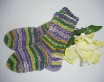 Children's socks 24-25 size size handmade of woolsocks hand knitted colorful socks winter warm childrensocks