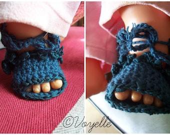 "Booties barefoot ""Baby Blue GRANITE"""