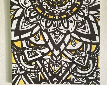 "Yellow Mandala original acrylic 12"" x 12"""