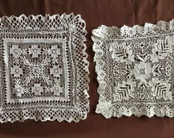 Two antique handmade dresses in filet embroidery. Vintage doily Napperon ancien