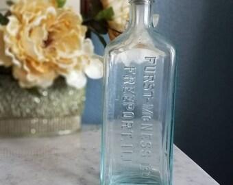 Antique Furst-McNess Co. Glass Bottle, Vintage Bottle,  Antique Decor