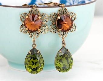 Olive Green Earrings, Brown Earrings, Swarovski Crystal Earrings, Green Rhinestone Earring Green Crystal Jewelry Flower Earring Dangle Erica