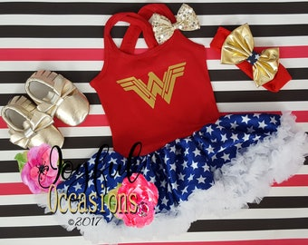 Wonder Woman Tutu Dress Costume - Cute 2pc Gold Halloween Superhero Toddler Girls Tutu Dresses With Matching Headband Birthday Outfit