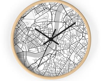 London Map Wall Clock, London Map, Map Clock, London Gift, Housewarming Gift, Black and  White Map, Minimalist Map