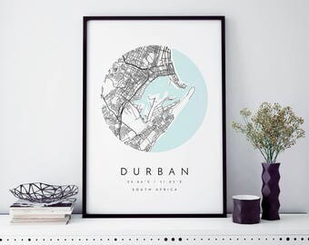 Durban, South Africa Map, Durban Map, Minimalist Map, Durban Print, Durban Poster, Durban Art, Modern Map Print, Map of Durban, Durban City