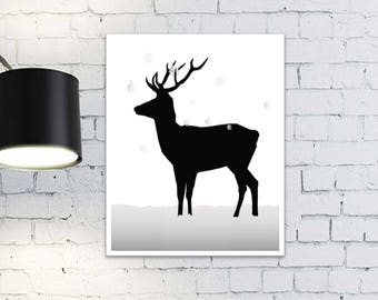 Deer Silhouette. Fall season decoration. Deer in the snow. Winter and Christmas decoration. Printable wall art.