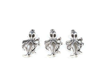 3 charms Octopus / Octopus / Kraken / Halloween in silvered Metal color approximately 30 x 17mm
