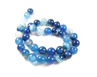 Natural Agate beads 5 shades of Blue 10mm