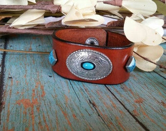 Southwester leather cuff bracelet , Western Prairie Dust Leather Concho  Cuff