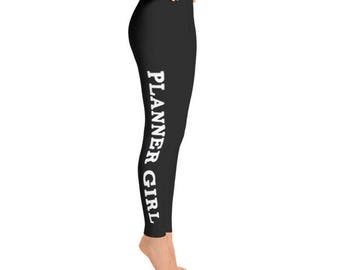 Women's Leggings | Black Planner Girl Leggings // Gift For Her, Planner Gift, Mother's Day Gift