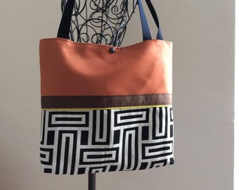 Large tote bag in suede and jacquard