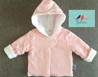 """Coat jersey """"peas"""" baby pink and white plush fabric lining"""