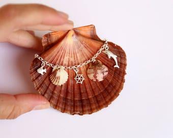 Sea Shell Bracelet, Silver Bracelet, Mermaid Bracelet, Boho bracelet