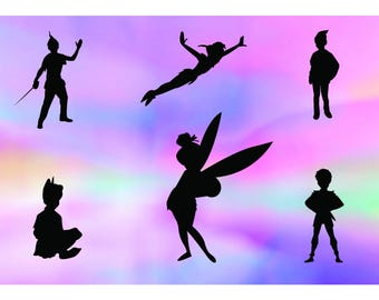 Peter Pan svg, Tinkerbell svg, Peter Pan silhouette svg, Tinkerbell silhouette svg, disney svg, silhouette files, svg files for cricut, dxf