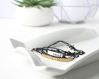 "SET OF 3 ""Sassy"" Bracelets, ""Sassy"" plate bracelet and 2 beaded bracelets, mulitple colour combinations available, adjustable"