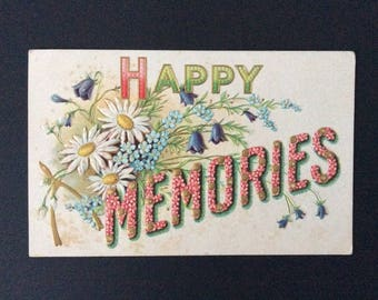 Antique 1900s Post Card Happy Memories / Postcard / Stamp / Smash Book / Journals / Cards/ Greeting Card / Ephemera