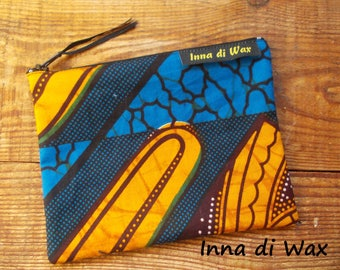 Pouch bag in wax fabric African 08014