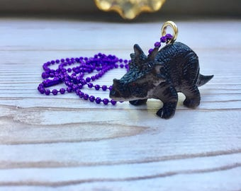 Triceratops necklace, dinosaur necklace, dinosaur jewelry, kitsch dinosaur pendant, quirky necklace, mini dinosaur pendant