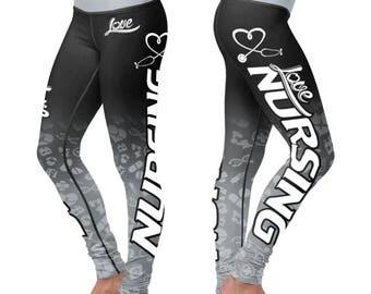 Nurse Leggings,Yoga Pants,Workout Pants,Gym Leggings All over printed Nurse leggings,Medical Legging, Made In USA