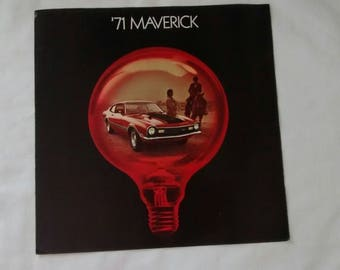 Vintage 1971 Ford Maverick Brochure, Car, Advertising, Auto, Dealer, Sales