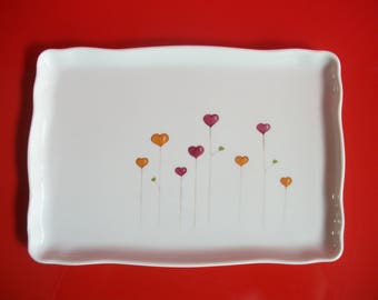 "Rectangular porcelain dish decorated with hearts""flowers"""