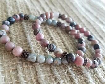 Rhodonite stone bracelet pair