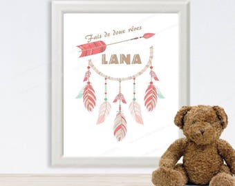 Digital poster catches dreams custom baby - girl's name