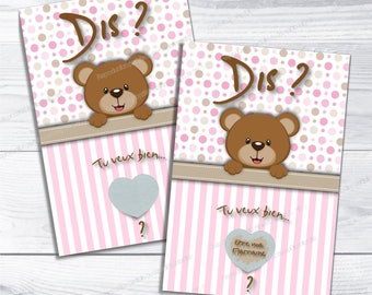 Scratch godmother brown bear - card say will you be my godmother