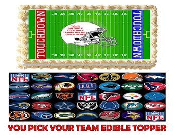 Football ! You Pick Your Team  Edible Cake Topper Edible Image Frosting Sheet - Quarter and Half Sheet Sizes