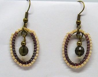 Beige and Brown miyuki beads earrings