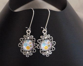 Spring bouquet cabochon earrings