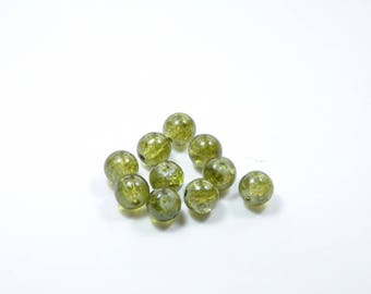 PE79 - Set of 10 Crackle glass beads