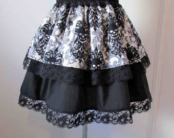 Skulls skirt and Baroque pattern