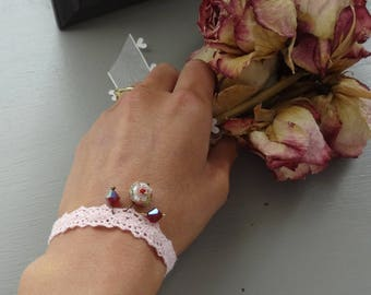 Pastel pink bracelet pink and bronze charms and lace