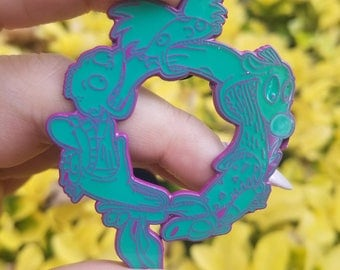 90s Cartoon Pin Teal/Purple Version