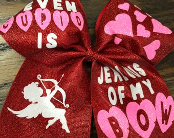 Valentine cheer bow - Cupid cheer bow - Valentines Day Bow - Cupid Bow - Cheer gifts - Cheerleading Bow - Cheer Bow - glitter bow