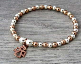 Rose Gold - Silver Bracelet with Guardian Angel Charm, Stacking Bracelet, Bridesmaid Bracelet, Angel Bracelet