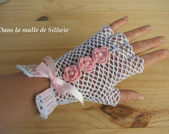 pair of fingerless gloves pink and white lace gloves for wedding ceremony