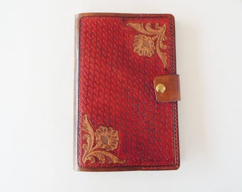 Tooled Leather Refillable Journal Cover -  Moleskine Cover