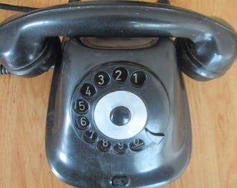 Vintage rotary phone, Retro telephone, Black bakelite telephone, Voroshilov phone , Retro art deco phone, Old working phone,Bulgarian phone
