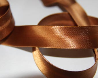 FABRIC 100% POLYESTER SATIN BROWN 18MM