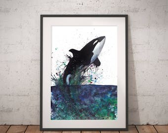 Orka art print watercolor painting, hand-signed