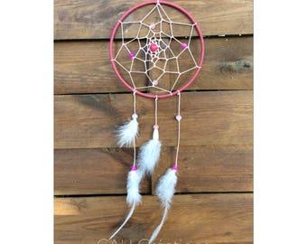 Dream catcher Dreamcatcher Fuchsia beads and feathers