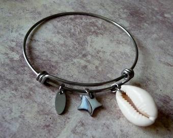 Stainless steel charm Bangle Bracelet