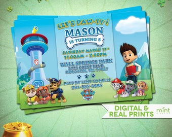 Paw Patrol Printable Invitation - Paw Patrol Printing - Paw Patrol Birthday Invitation  Paw Patrol Invitations  Paw Patrol Party Invitations